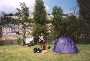 A sunny day in Chinon, and our campsite on the Loire, with the Chateau up on the hill in the background