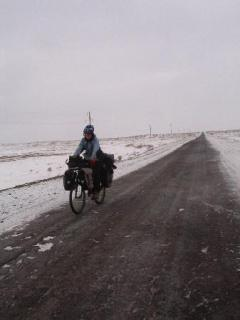 Elena on bike, -12C Kazakstan, December 2006