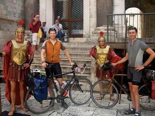 Us in Split, Croatia taking break with Santa and Roman Soldiers.