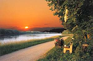 Sunset along the Donau River near Tulln, Austria © 1998 CL Anderson