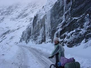 my friend Razvan climbing TransFagarasan alpine road in winter conditions