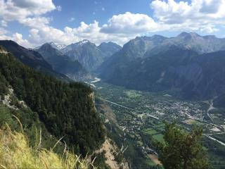 View of Bourg d'Oisans from the road to Villard Reculas