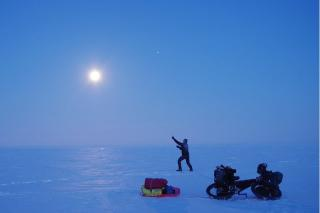 night ride on frozen Arctic Ocean